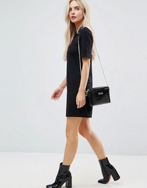 photo T-Shirt Mini Dress with Faux Leather Collar by ASOS PETITE, color Black - Image 4