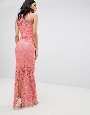 photo Lace Midi Dress by Paper Dolls, color Coral - Image 2