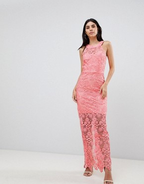 photo Lace Midi Dress by Paper Dolls, color Coral - Image 1