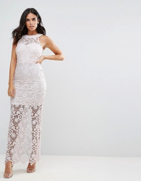 photo Lace Maxi Dress by Paper Dolls, color Light Pink - Image 1