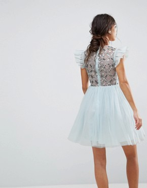 photo Pretty Embellished Tulle Mini Dress by ASOS PETITE, color Blue - Image 2