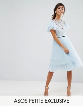 photo Pretty Embellished Tulle Mini Dress by ASOS PETITE, color Blue - Image 1