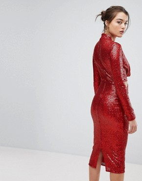 photo Cowl Front Cut Out Sequin Midi Dress by ASOS, color Red - Image 2