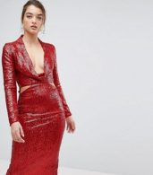 photo Cowl Front Cut Out Sequin Midi Dress by ASOS, color Red - Image 1