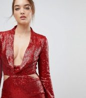 photo Cowl Front Cut Out Sequin Midi Dress by ASOS, color Red - Image 3