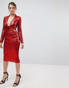 photo Cowl Front Cut Out Sequin Midi Dress by ASOS, color Red - Image 4