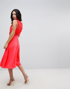 photo Lace Pinafore Pleated Midi Dress by ASOS, color Bright Coral - Image 2