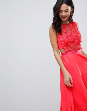 photo Lace Pinafore Pleated Midi Dress by ASOS, color Bright Coral - Image 3