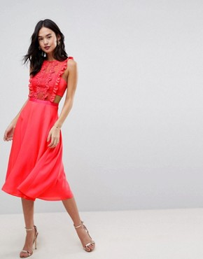 photo Lace Pinafore Pleated Midi Dress by ASOS, color Bright Coral - Image 1