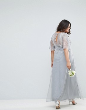 photo Bridesmaid Embellished Lace Insert Flutter Sleeve Maxi Dress by ASOS DESIGN Curve, color Grey - Image 2