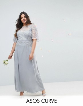 photo Bridesmaid Embellished Lace Insert Flutter Sleeve Maxi Dress by ASOS DESIGN Curve, color Grey - Image 1