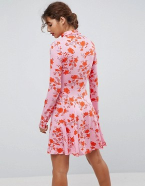 photo Polo Neck Mini Dress with Godets in Floral Print by ASOS, color Floral Print - Image 2