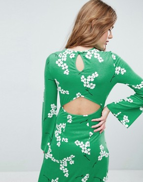 photo Maxi Tea Dress with Open Back in Green Floral by ASOS, color Green Floral - Image 3