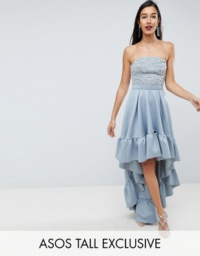 photo Scuba Dip Back Midi Dress by ASOS TALL RED CARPET, color Grey - Image 1