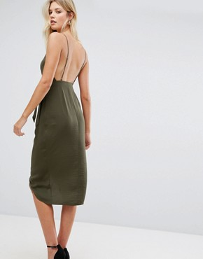 photo Hammered Satin Lace Trim Cami Sexy Wrap Midi Dress by ASOS TALL, color Khaki - Image 2