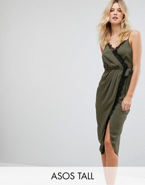 photo Hammered Satin Lace Trim Cami Sexy Wrap Midi Dress by ASOS TALL, color Khaki - Image 1
