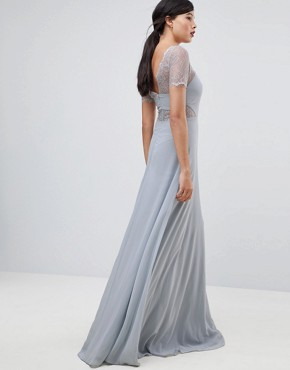 photo Lace Insert Panelled Maxi Dress by ASOS TALL, color Grey - Image 2
