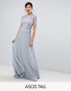photo Lace Insert Panelled Maxi Dress by ASOS TALL, color Grey - Image 1
