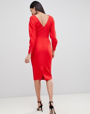 photo Long Sleeve Midi Pencil Dress by ASOS TALL, color Red - Image 2