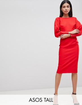 photo Long Sleeve Midi Pencil Dress by ASOS TALL, color Red - Image 1