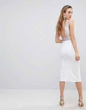 photo Deep Plunge Ombre Sparkle Bodycon Midi Dress by ASOS TALL, color White - Image 2