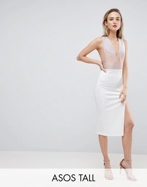 photo Deep Plunge Ombre Sparkle Bodycon Midi Dress by ASOS TALL, color White - Image 1
