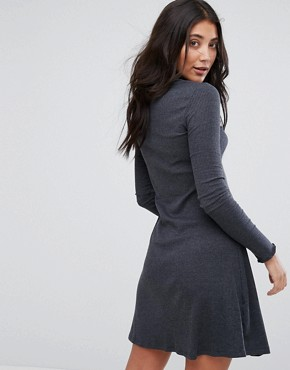 photo Julie High Neck Jersey Dress by Brave Soul, color Charcoal Marl - Image 2