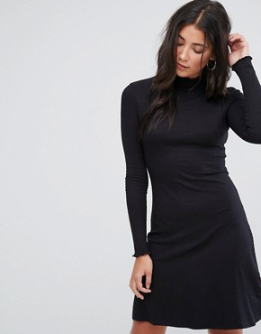 photo Julie High Neck Jersey Dress by Brave Soul, color Black - Image 1