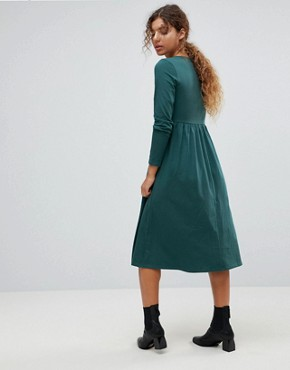photo Midi Smock Dress with Button Placket by ASOS, color Forest Green - Image 2
