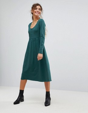 photo Midi Smock Dress with Button Placket by ASOS, color Forest Green - Image 1