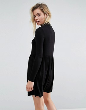 photo Polo Neck Smock Dress by ASOS, color Black - Image 2