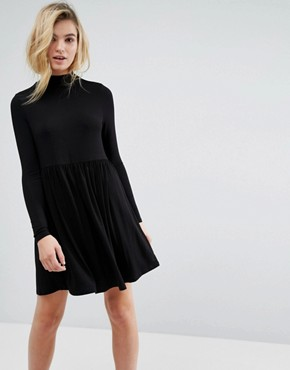 photo Polo Neck Smock Dress by ASOS, color Black - Image 1