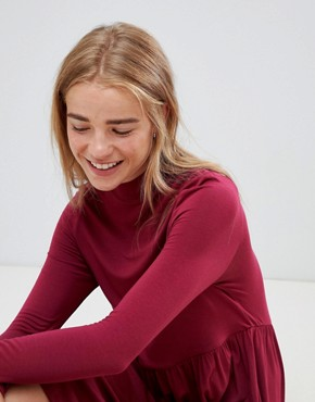 photo Polo Neck Smock Dress by ASOS, color Berry - Image 3