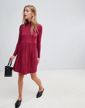 photo Polo Neck Smock Dress by ASOS, color Berry - Image 4