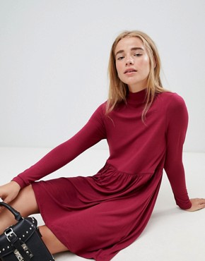 photo Polo Neck Smock Dress by ASOS, color Berry - Image 1