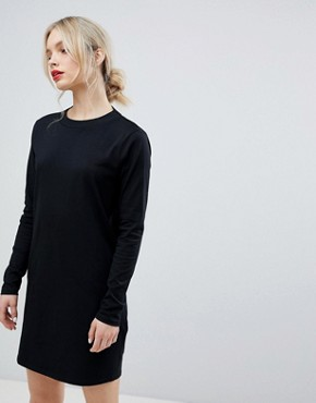 photo Open Back T-Shirt Dress with V-Back and Long Sleeves by ASOS, color Black - Image 2
