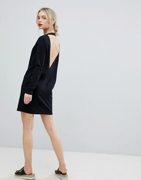 photo Open Back T-Shirt Dress with V-Back and Long Sleeves by ASOS, color Black - Image 1