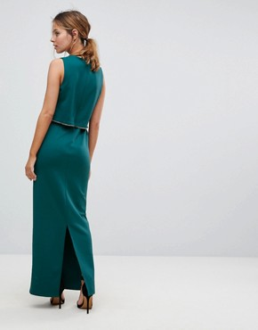 photo Crop Top Maxi Dress with Embellished Trim by ASOS PETITE, color Emerald Green - Image 2