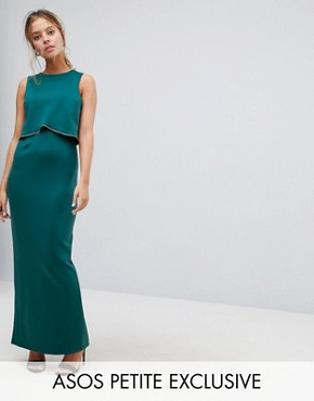 photo Crop Top Maxi Dress with Embellished Trim by ASOS PETITE, color Emerald Green - Image 1