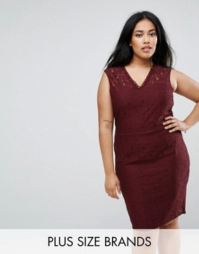 photo Lace Pencil Dress by Junarose, color Vineyard Wine - Image 1