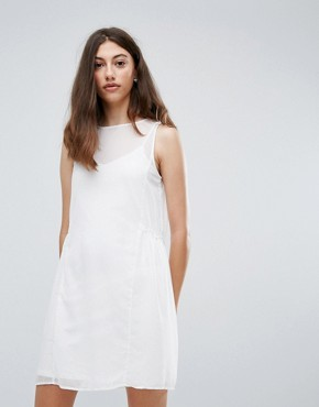 photo Eila Mesh Overlay Dress by Pieces, color Cloud - Image 1