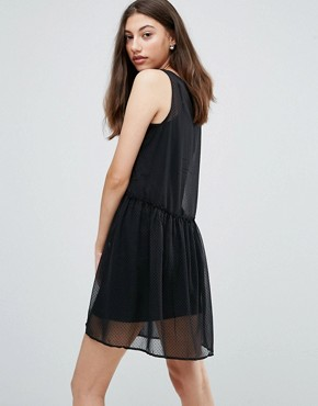 photo Eila Mesh Overlay Dress by Pieces, color Black - Image 2