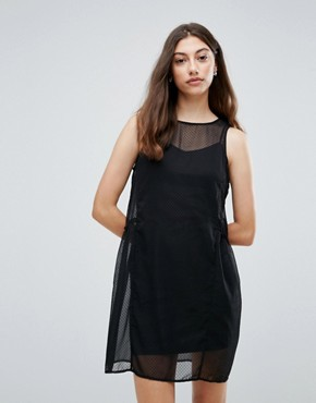 photo Eila Mesh Overlay Dress by Pieces, color Black - Image 1