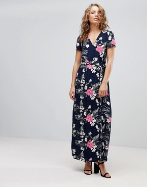 photo Emi Floral Print Maxi Wrap Dress by Pieces, color Navy - Image 1