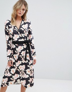 photo Floral Wrap Midi Dress by Liquorish, color Multi - Image 1