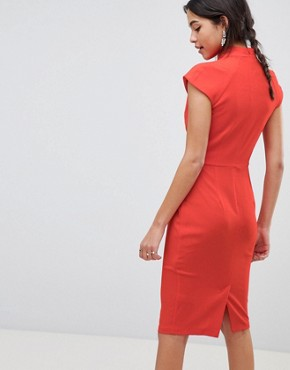 photo Twist Neck Keyhole Midi Dress by ASOS, color Red - Image 2