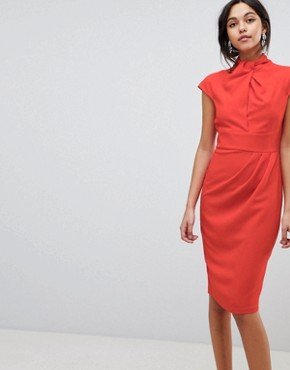 photo Twist Neck Keyhole Midi Dress by ASOS, color Red - Image 1
