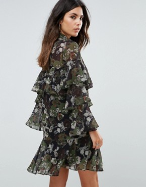 photo Floral Print Tiered Dress by Liquorish, color Black Olive - Image 2