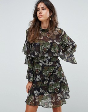 photo Floral Print Tiered Dress by Liquorish, color Black Olive - Image 1