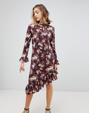 photo Gayle Asymmetric Hem Floral Print Dress by Walter Baker, color Victorian Rose - Image 1